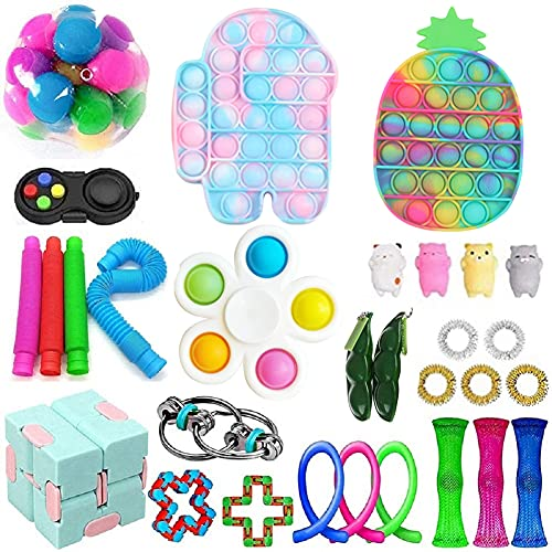 30 PCS Sensory Fidget Toys Set, Relieves Stress and Anxiety Kits for Kids Adults, Gifts for Birthday Party Favors, Christmas Stocking Stuffers, School Classroom Rewards, Carnival Prizes (A9)