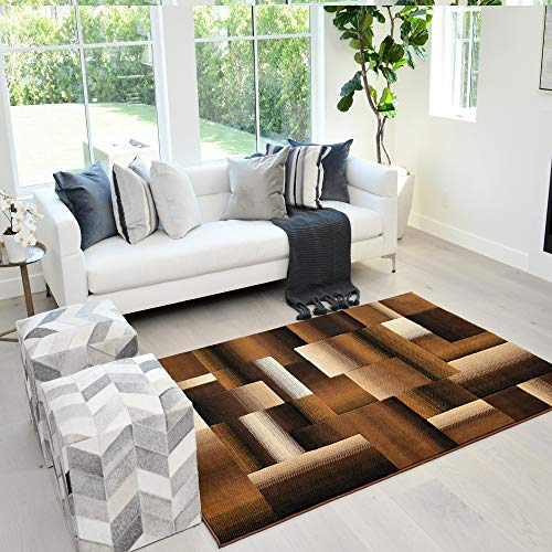 Handcraft Rugs Chocolate Brown/Beige/Gold Abstract Geometric Modern Squares Pattern Area Rug 5 ft. by 7 ft.