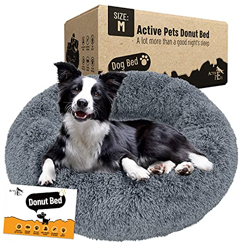 Active Pets Plush Calming Dog Bed, Donut Dog Bed for Small Dogs, Medium & Large, Anti Anxiety Dog Bed, Soft Fuzzy Calming Bed for Dogs & Cats, Comfy...