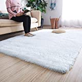 Noahas Luxury Fluffy Rugs Ultra Soft Shag Rug for Bedroom Living Room Kids Room, Child and Girls Shaggy Furry Floor Carpet Nursery Rugs Modern Indoor Home Decorative, 4 ft x 5.3 ft, White