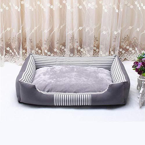 Zwinger Hundebett Canvas Pet Dog Betten wasserdichte Unterseite Abnehmbare Doppelseitige Gebrauchte FleeceWelpenbettenFürMittlere Hunde 50X38X15Cm Grau