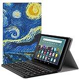MoKo Keyboard Funda Compatible con Kindle Fire 7 Tablet (9th Generation - 2019 Release), Wireless Bluetooth Teclado Funda QWERTY - Noche Estrellada