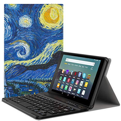 MoKo Keyboard Funda Compatible con Kindle Fire 7 Tablet (9th Generation - 2019 Release), Wireless Bluetooth Teclado Funda QWERTY - Noche Estrellada