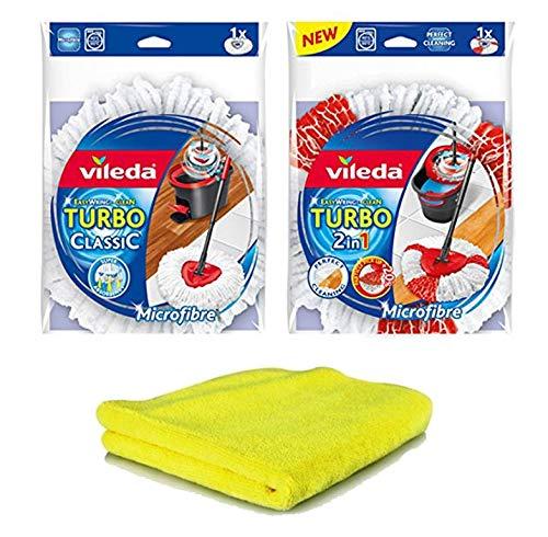 Preisvergleich Produktbild 1 Ersatzkopf Vileda EasyWring Classic und 1 Ersatzkopf Vileda EasyWring Turbo 2 in 1 für Vileda EasyWring & Clean Komplett und 1 Stk. Mikrofiber Marke Siluk