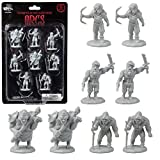 8 Unpainted Fantasy Orc Mini Figures- All Unique Designs- 1' Hex-Sized Compatible with DND Dungeons and Dragons & Pathfinder and All RPG Tabletop Games