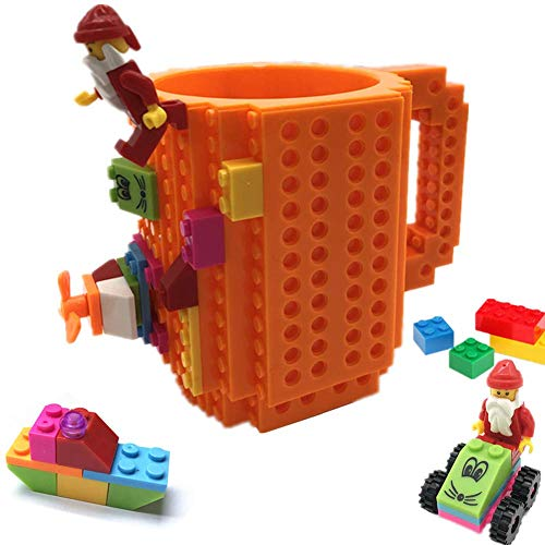 BUTLING BuildOn Brick Mug Creative DIY Building Blocks Coffee Cup Water Bottle Puzzle Toy Mug Desk Ornament Unique Christmas Gift Idea Compatible with Lego Orange