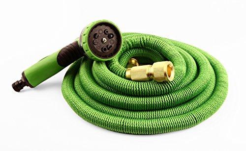 Jardinion Flexibler Gartenschlauch, Wasserschlauch, Sprühkopf mit Sieben Funktionen, Handbrause Grün/Schwarz 30 Meter