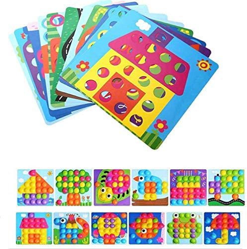 X-LIVE Giocattoli a mosaico per bambini a partire dai 3 anni, giocattolo educativo per funghi, unghie, Pegboard con 46 bottoni e 12 placche colorate