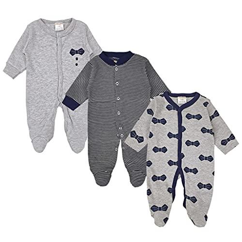 JiAmy Baby Pigiama con Piedi Pagliaccetto 3 Confezioni Tuta da Neonato a Manica Lunga in Cotone Tutina Neonato Body per 0-9 Mesi 0-3 Mesi