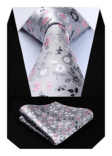 HISDERN Floral Paisley Boda Fiesta Prom Corbata Pañuelo Manner Corbata y bolsillo Conjunto de pañuelo