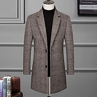 Woolen Woolen Coat, Cashmere Coat Men's Mid-Length Casual Men, Fashionable Woolen Coat Woolen Woolen Coat,Khaki,XXL
