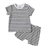 Baby nest ベビー服 男の子 女の子 パジャマ コットン 上下2点セット ルームウェア 寝間着 シャツ パンツ 赤ちゃん服 新生児服 ストライプ 80 9-12ヶ月