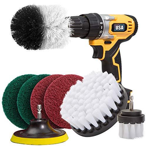 Holikme Lot de 8 brosses à fixer sur la perceuse pour le nettoyage des joints, sols, baignoires, douches, carrelages, coins