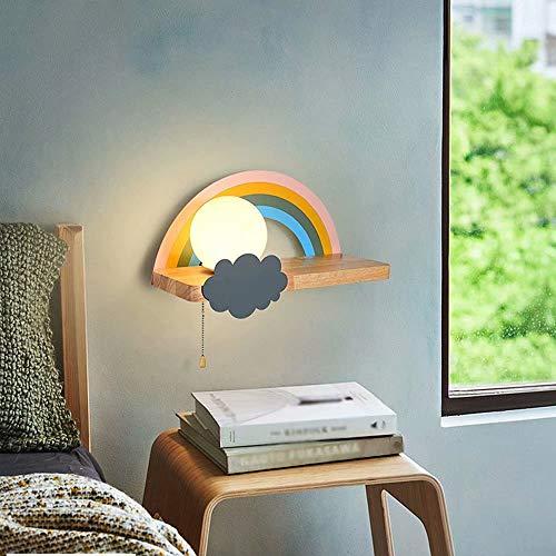 Aplique de pared arcoíris con estantes de madera,lámpara E27,habitación de los niños pantalla de vidrio de luz blanca Lámpara de pared Dormitorio Iluminación de aplique de pared de noche