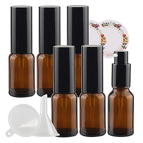 TIANZD 6 PCS 15ml Empty Amber Brown Glass Lotion Pump Bottles Dispenser with Black Pump for Lotion, Gel, Essential Oil, Cream, Salve, Cosmetic Refillable + 2X Funnel