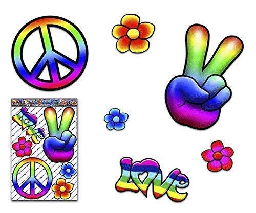 JAS Stickers® Rainbow Hippy Peace Lustiger Autoaufkleber - 60er Jahre Love Flowers Große Vinyl-Aufkleberpackung für Laptop-Gepäck Fahrrad-Caravans Van Camper Trucks Boote - ST00007_LGE