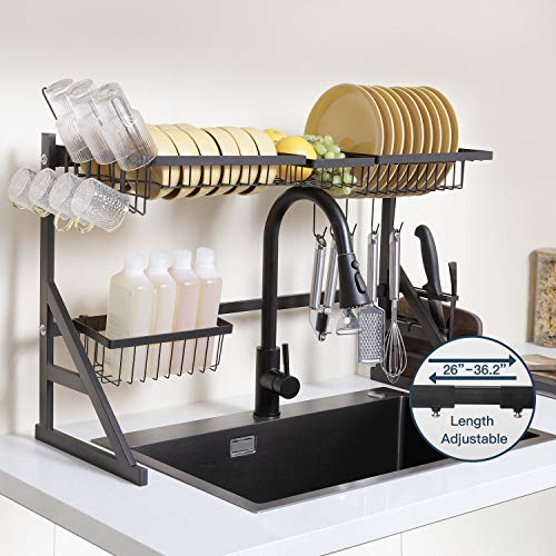 KORVOS Over The Sink Dish Drying Rack, Length Adjustable (26''-36.2'') Dish Rack for Kitchen Bowl Storage, Easy to Install, Dish Drying Dariner Above Sink with Cup and Utensil Holder, Black