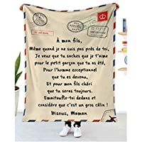 To My Daughter -Mother's Message Blanket, Warm Fleece Throw Blanket, for Daughter Personalized Custom Letter Print Warm Blanket,for Birthday/Christmas/New Year (French son, 50*60in)