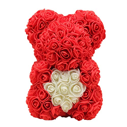 Amosfun 25 cm Rosa Oso Flor Color de Rosa Decoración Artificial Regalo del día de San Valentín Regalo de Bricolaje Creativo para Boda Novia (Rojo)