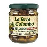 Le Terre di Colombo - Aceitunas Taggiasca sin hueso en aceite de oliva virgen extra (36%), 212 ml (paquete de 6)