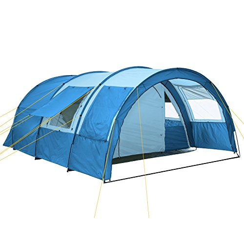 CampFeuer Tunnelzelt Multi Zelt für 4 Personen | riesiger Vorraum, 5000 mm Wassersäule | mit Bodenplane und versetzbarer Vorderwand | Campingzelt Familienzelt (blau/hellblau)