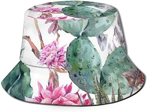 Cactus suculentas Flor roja Bonsai Estampado Sombrero de Cubo Pescador Pesca Gorra de Sol para Mujeres Viajes