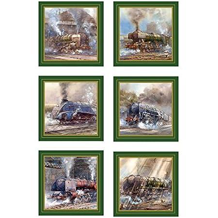 Steam Locomotive Coasters (6), 10 cm