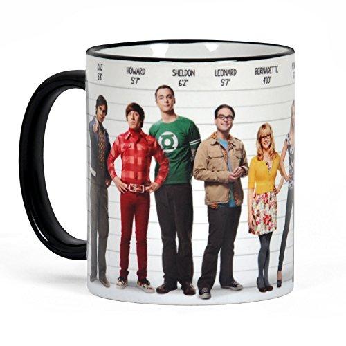 Elbenwald Big Bang Theory All Star Motiv Kaffeebecher mit allen Hauptdarstellern 320ml Keramik weiß