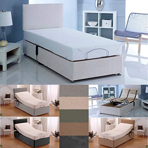 sleepkings 3ft Single Electric Adjustable Bed in Cream With Memory Foam Mattress + Headboard With 3 Years Guarantee