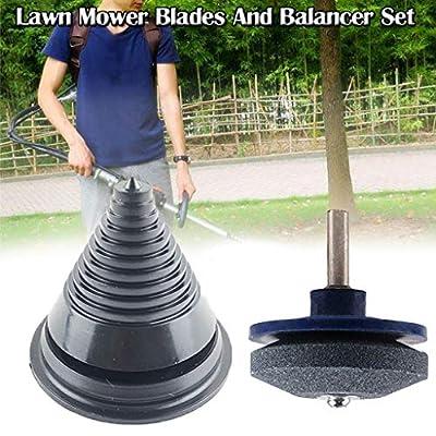 BOSJI Upgraded Universal Lawn Mower Blades Sharpener + 1 Blade Balancer Set for Mower & Hand Drill (Black)