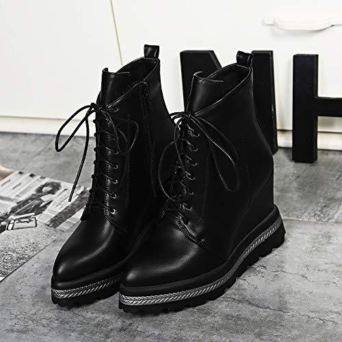 Shukun enkellaarzen voor dames, herfst, winter, lakleer, dames, kant, wighakken, hoge hakken, dameslaarzen, schoenen met wigzool, Martin laarzen