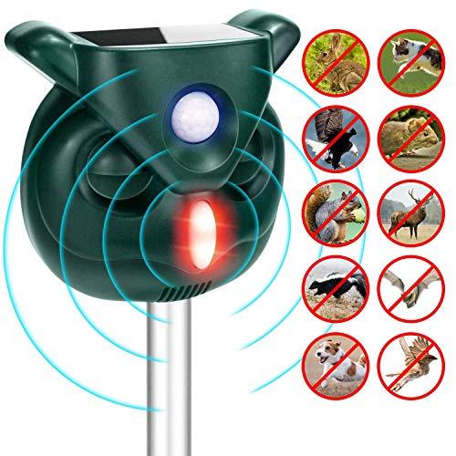 GLAMSVILL Repelente de Gatos Exterior Resistente al Agua Repelente de Animales Ultrasónico con Carga Solar Sensor de Movimiento y Luz Intermitente Detector para para Gatos, Perros, Ratones, Zorros