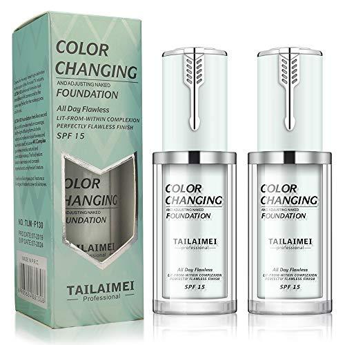 Concealer Cover Cream, 2-teiliges makelloses Make-up für farbwechselnde Foundation, warme Haut Foundation Liquid Base Face Feuchtigkeitsspendende Liquid Cover Concealer SPF 15