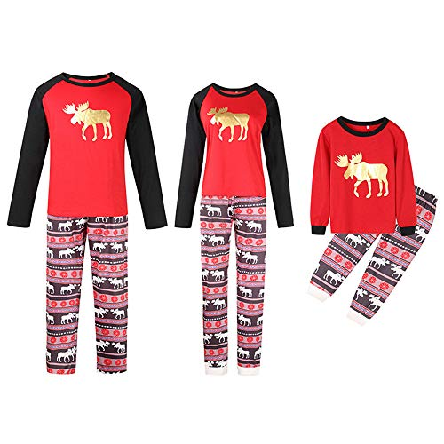 TLLW Pijama familiar de Navidad a juego con pijamas de Navidad y pantalones largos, ropa de dormir para mujer, pijama de Navidad Rojo Papá Rojo 6-7 años