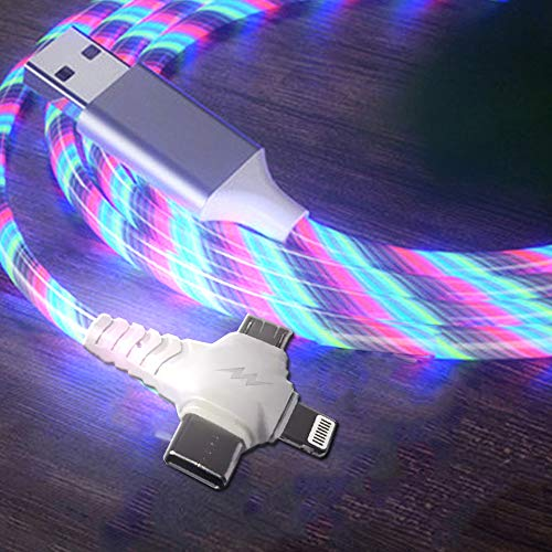 Right Angle 90 Degree 3 in 1 Multi USB Cable, 3.3ft Colorful Shining Led Flowing Light Up Festival Party Cute Cool Charger Cable Compatible with Type C,Micro USB Android IOS Tablets/Samsung Galaxy/Goo