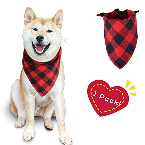 Buffalo Plaid Dog Bandana Cotton Bandanas Handkerchiefs Scarfs Triangle Bibs Accessories for Small Medium Large Dogs Puppies Pets Double Layer Thickening Washable (Red)