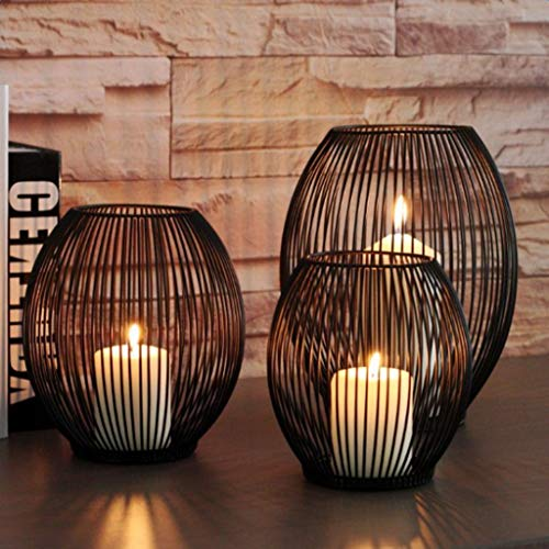 eaz The best choice for gifts for lovers on Valentine' Vintage Hollow Wire Tealight Votive Candle Candleholder Candlestick Home Decor candle cups for candlesticks (Size : L)