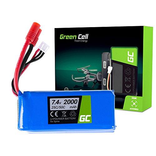 Green Cell® Batteria per Drone Quadrocopter Syma X5SC-1 (Li-Polymer, 2000 mAh, 7.4V, Banana Connettore)