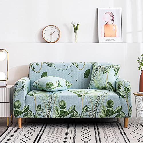 Fundas de sofá Estampadas Elástica,Hoja Verde 4 Plazas Antideslizante Ajustables Funda de Sofá,Universal Poliéster Protector Cubierta de Muebles,+2 Funda de Cojín