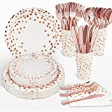 Radosnya Rose Gold Party Supplies, Rose Gold Party Plates, Serves 16, Birthday Plates, Sturdy Silverware Set, Napkins and Cups Included for Bachelorette, Sweet 16, Wedding