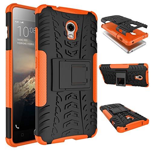 pinlu Funda para Lenovo Vibe P1 Smartphone Doble Capa Híbrida Armadura Silicona TPU + PC Armor Heavy Duty Case Duradero Protección Neumáticos Patrón Naranja