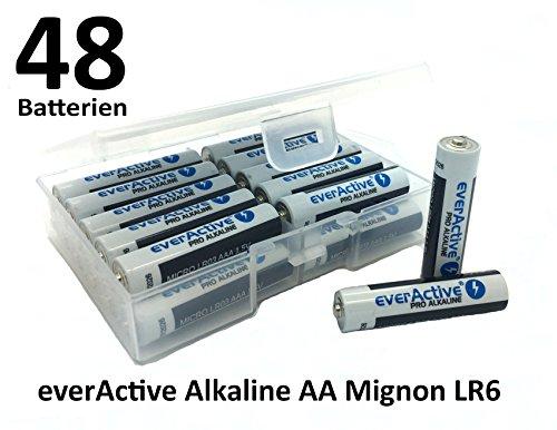 Flachbox mit 48 x everActive Mignon AA LR6 MN1500 MX1500 Alkalinebatterie Batterien 2900 mAh