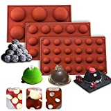 Round Silicone Molds for Chocolate Half Circle Silicone Hot Chocolate Cocoa Bomb Mold 3 Packs Silicone Molds for Baking Cake,Fondant,Jelly, Dome Mousse,Pudding,Candy,Free(6 holes, 15,24 holes)