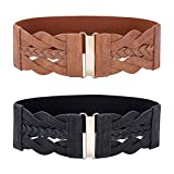 Women's 2 Pack Retro Wide Elastic Stretch Belt, Black + Brown, Medium