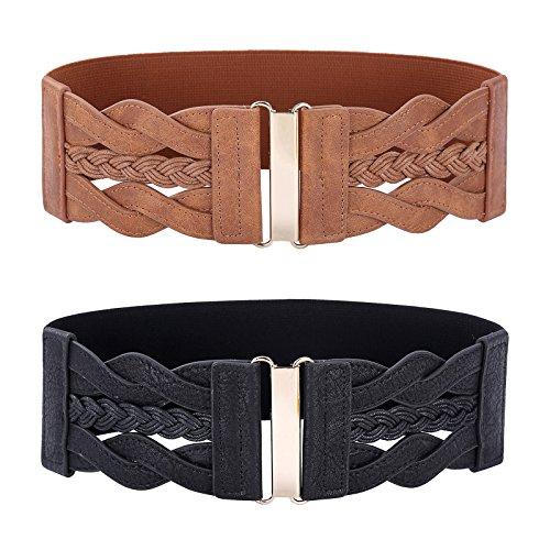 Women's Vintage Belt Retro Wide Elastic Stretch Belt(Black and Brown,X-Large)