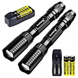 X.Store 2 Pack of 3000 Lumes Black LED Flashlight Outdoor 5 Modes Waterproof