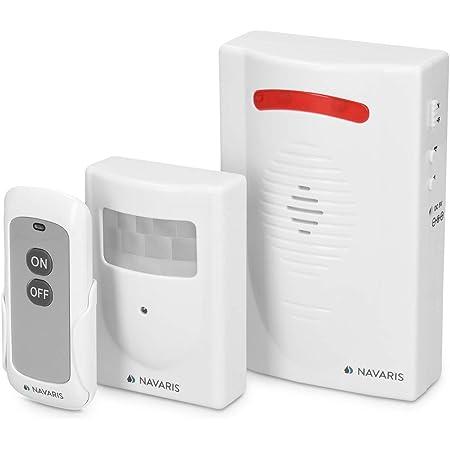 Navaris sistema de alarma inalámbrico - Alarma antirrobo con sirena y luces - Alarma de casa con sensor de movimiento PIR - Con mando a distancia