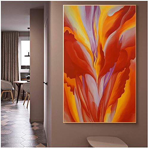 A&D Georgia O'Keeffe Museum Abstrakte Kunst Blumenbilder Leinwand Malerei Wandkunst für Wohnzimmer Moderne Wohnkultur -60x100cm Kein Rahmen