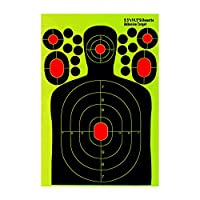 """Tactical Target サバイバルゲーム装備 エアソフト ギア エアガン ペイントボール BB 銃シューティング 射撃 タクティカル トレーニング シルエットスプラッタ 蛍光 ターゲットステッカー 30PCSセット - 9.5""""x14.5"""""""