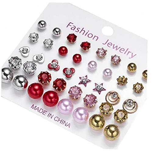 Boucles d'oreilles garnitures perles zircon star alliage goujons d'oreilles pour filles femmes 20Pair style25